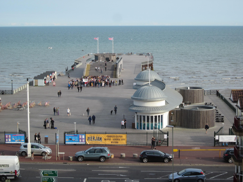 Pier protest gets underway