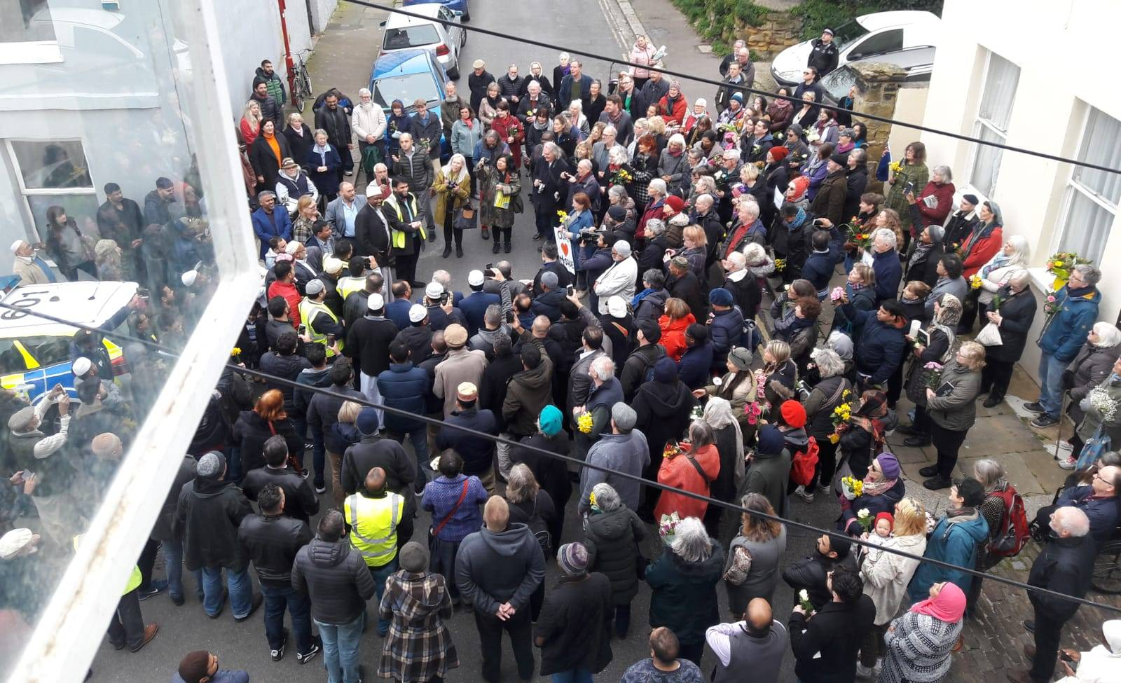Standing side by side – one Hastings many voices, mosque vigil is huge success