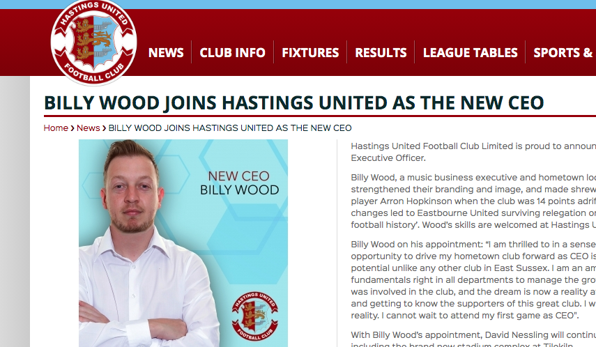 New CEO at Hastings United – Wood plans to wake up sleeping giant