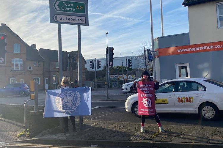 Flying the flags – councillors mark UN ban on nuclear weapons